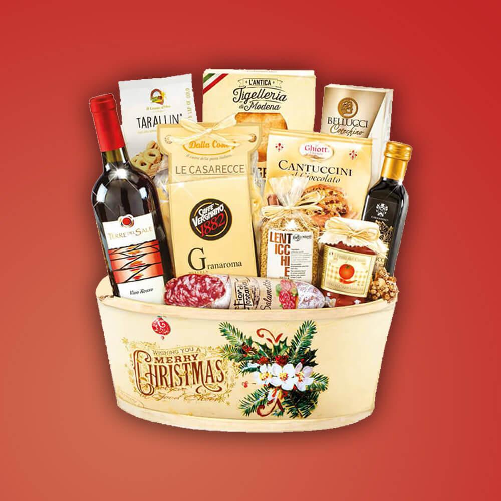 """Italienisches Genießer Geschenkkorb """"Camelot"""" Weihnachtskorb Italienische Speisen und Wein"""