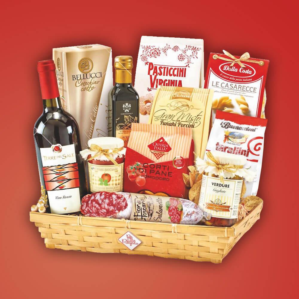"""Italienischer Genuss Geschenkkorb """"Sofia"""" Weihnachtskorb Italienische Speisen und Wein 12 Artikel"""