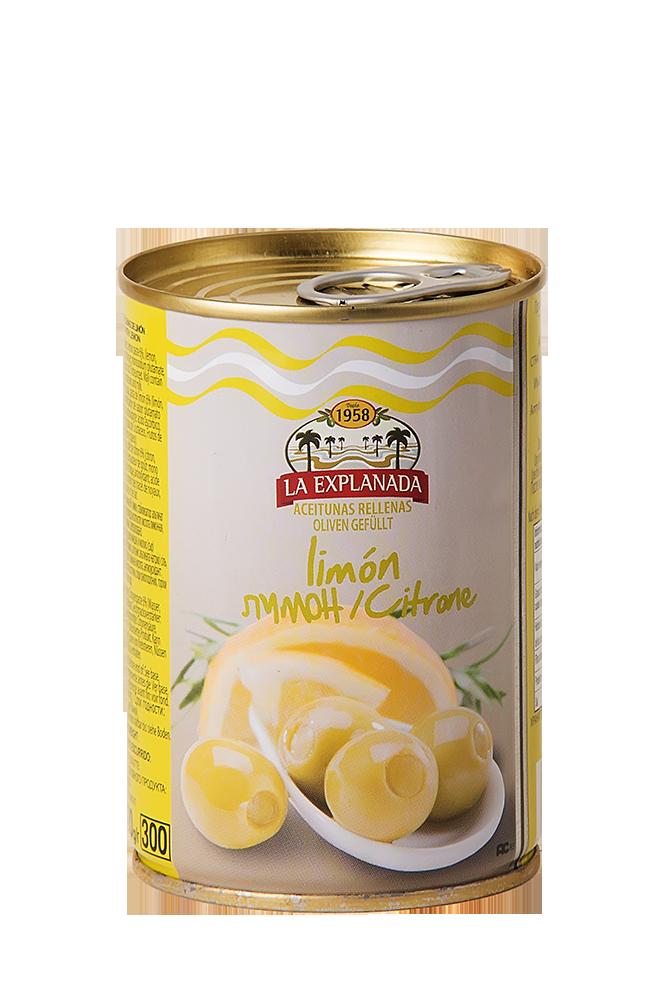 Grüne Oliven mit Zitronenfüllung