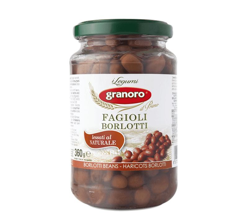Granoro Borlotti Bohnen gekocht in Salzlake Glas