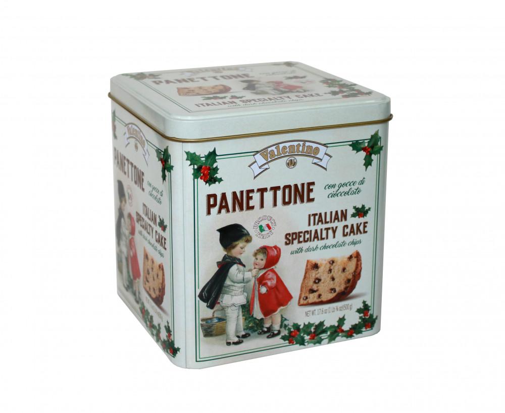 Panettone mit dunkler Schokolade in Metallbox