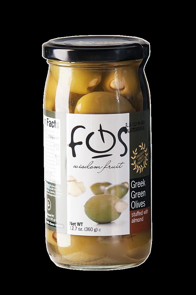 FOB Grüne Oliven mit Mandeln