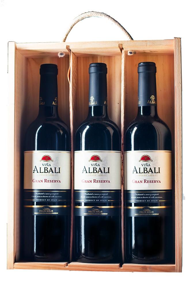 Geschenkverpackung 3 x Albali tinto Gran Reserva 0,75l in der Holzkiste
