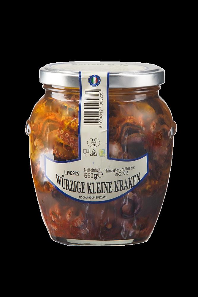 Borelli - kleine würzige Krraken in Öl mit Paprika und Chili