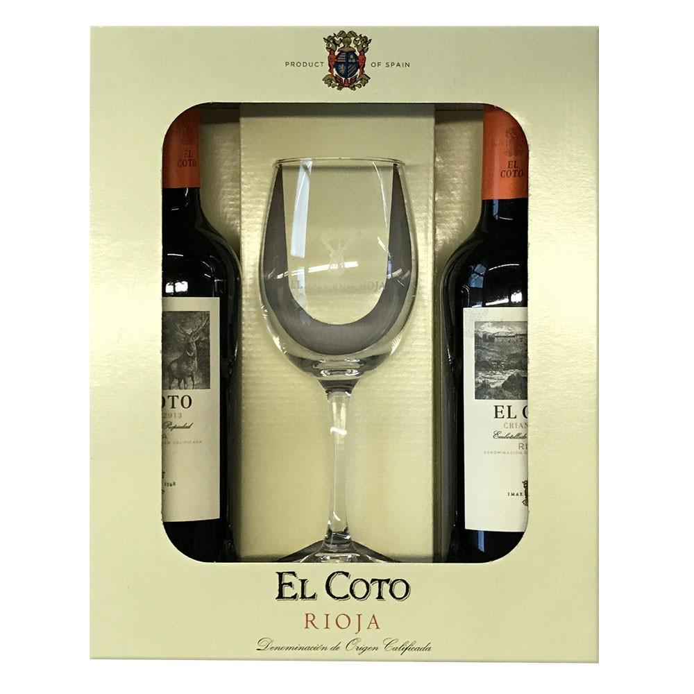 Geschenkset El Coto Crianza mit 1 Rotweinglas