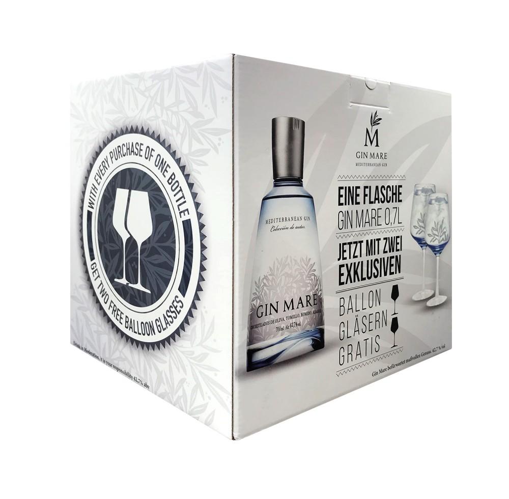 Gin Mare Geschenkbox mit 2 Gin Tonic Gläsern