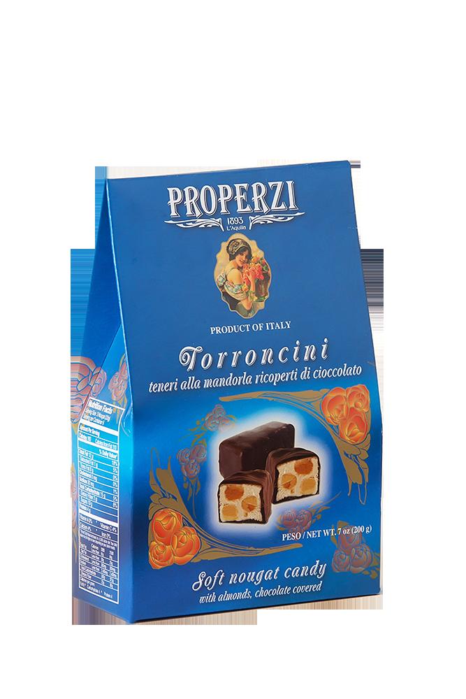 Torroncini mit Mandeln und Schokoladenüberzug